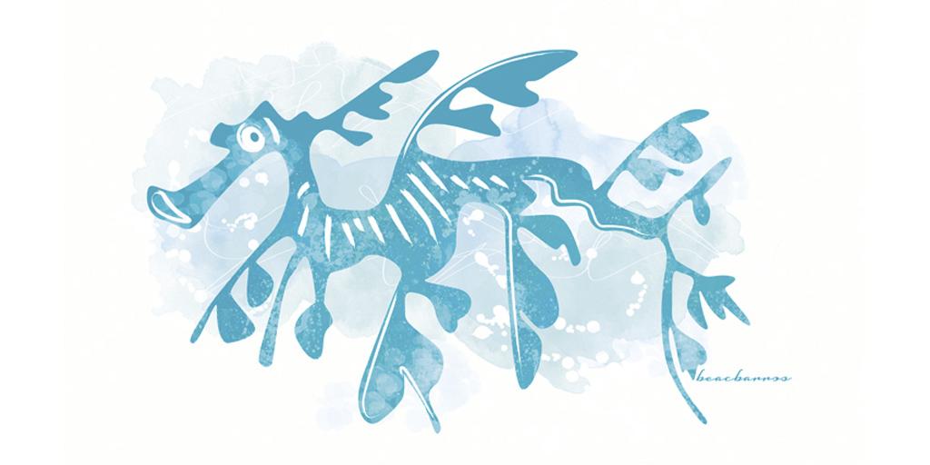 ilustración dragón de mar
