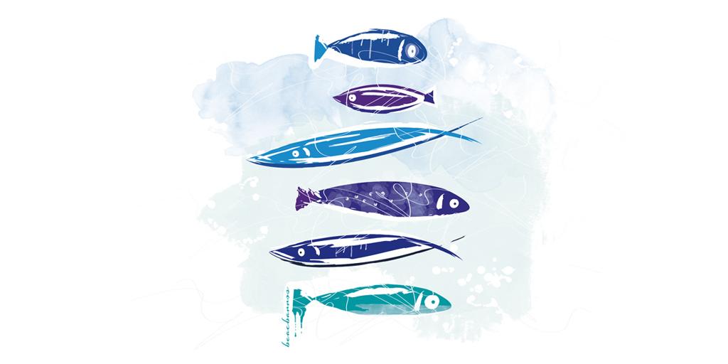 peces de colores acuarela