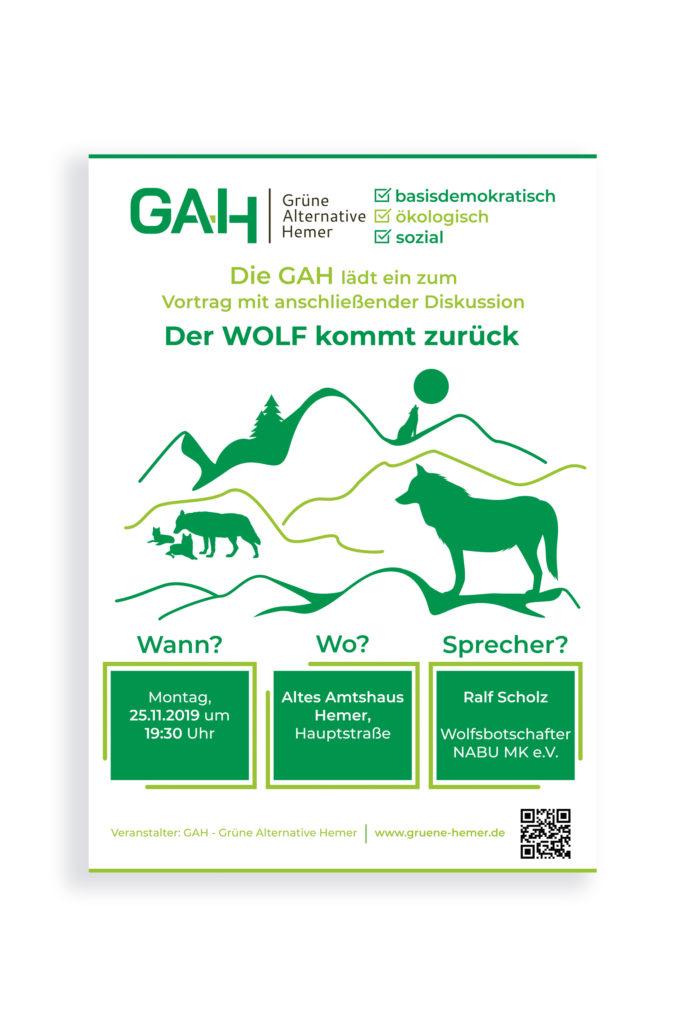 cartel para evento conservacionista sobre el regreso del lobo a Alemania