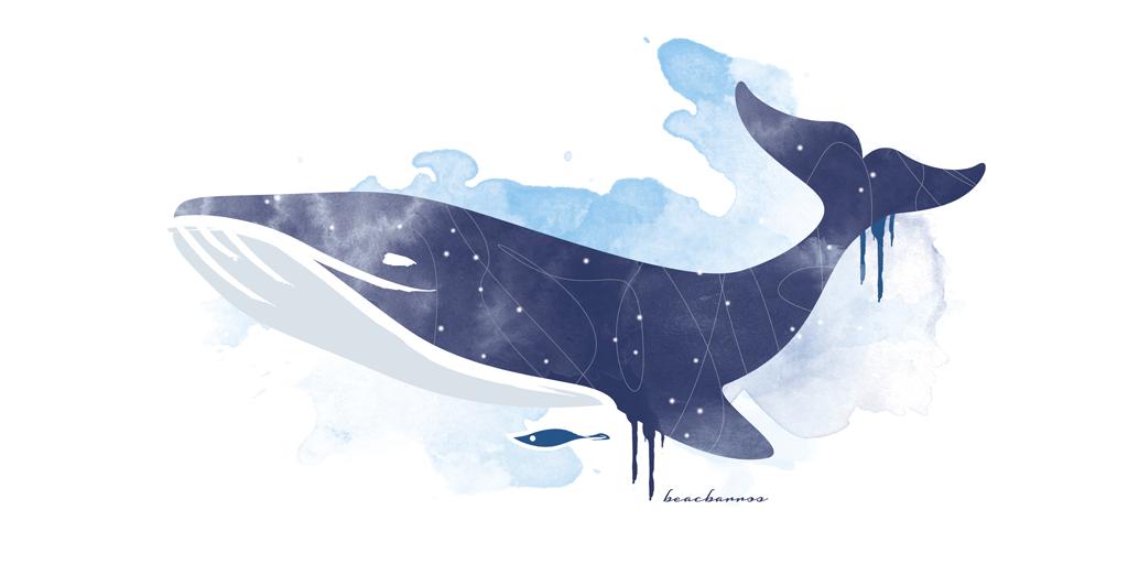 ilustración original ballena azul